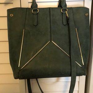Charming Charlie dark green tote handbag